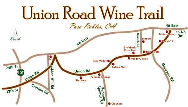 Historic Union Road Wineries map