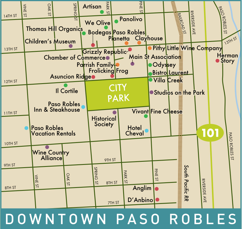 Downtown Paso Wine Map