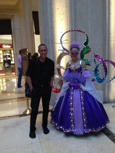 Zach with one of the performers at the Venetian